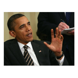 President Barack Obama talks to the press Postcard
