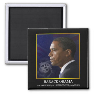 President Barack Obama with JFK - Magnet