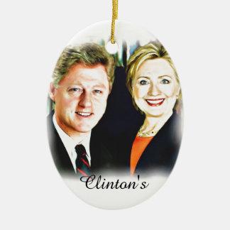 President Bill Clinton & President Hillary Clinton Ceramic Oval Ornament