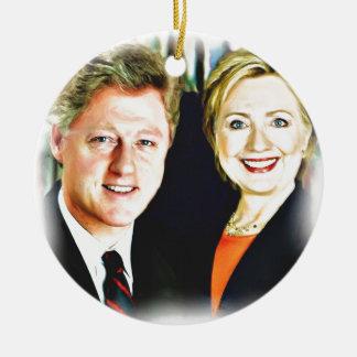President Bill Clinton & President Hillary Clinton Round Ceramic Ornament