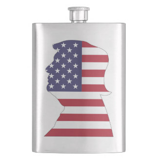 PRESIDENT DONALD TRUMP AMERICAN FLAG HIP FLASK