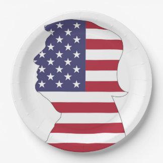 PRESIDENT DONALD TRUMP AMERICAN FLAG PAPER PLATE