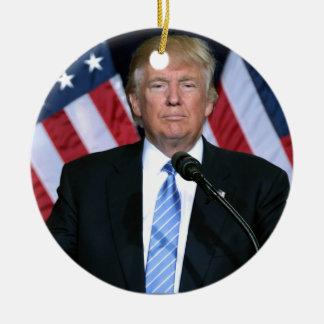 President Donald Trump Round Ceramic Ornament