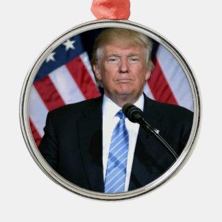 President Donald Trump Silver-Colored Round Ornament