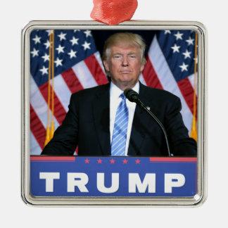 President Donald Trump Silver-Colored Square Ornament