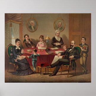 PRESIDENT GARFIELD & FAMILY Lithograph Print
