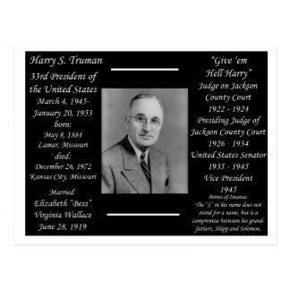President Harry Truman Postcard
