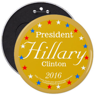 President Hillary Clinton 2016 Gold Medal 6 Inch Round Button