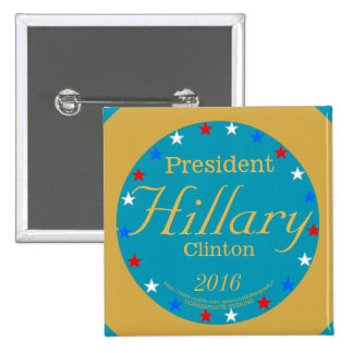 President Hillary Clinton 2016 Take Action Blue 2 Inch Square Button