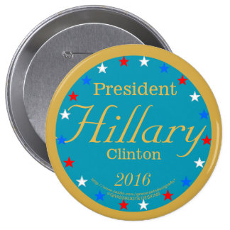 President Hillary Clinton 2016 Take Action Blue 4 Inch Round Button