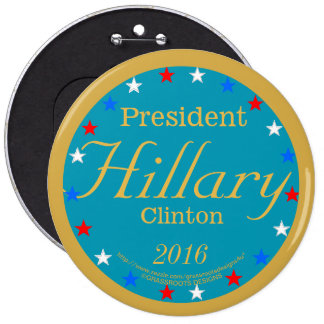 President Hillary Clinton 2016 Take Action Blue 6 Inch Round Button