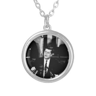 President John F. Kennedy Men to the Moon Speech Silver Plated Necklace