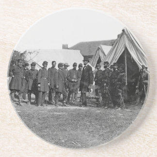 President Lincoln at a Civil War encampment. Coaster