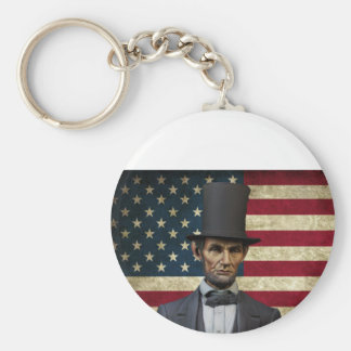 president lincoln basic round button keychain
