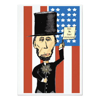 """President Lincoln Save The Date Matte 5"""" x 7"""", Card"""