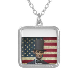 president lincoln silver plated necklace