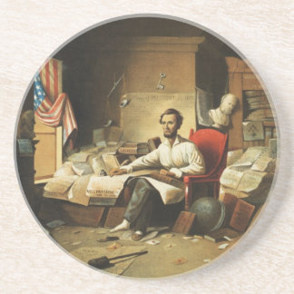 President Lincoln Writing Proclamation of Freedom Beverage Coasters