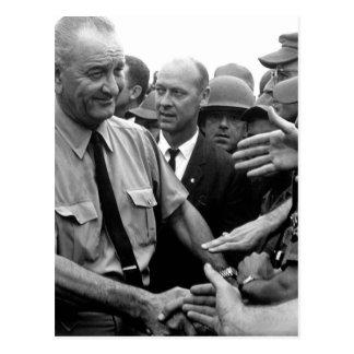 President Lyndon B. Johnson greets American troops Postcard