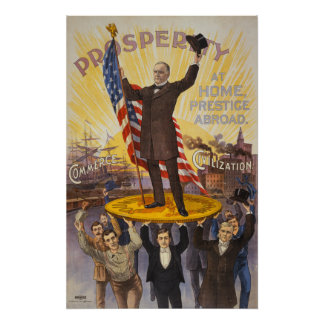 President McKinley standing on a giant coin Poster