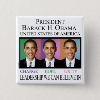 PRESIDENT OBAMA 2 INCH SQUARE BUTTON