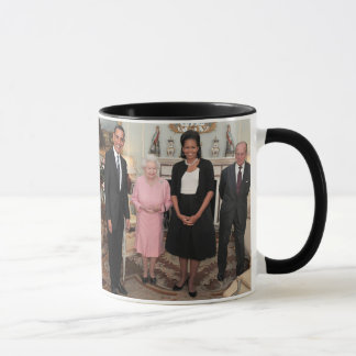 PRESIDENT OBAMA AND MICHELLE WITH QUEEN ELIZABETH MUG