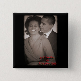 PRESIDENT OBAMA & FIRST LADY SQUARE BUTTON