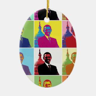President Obama Pop Art Ceramic Oval Ornament