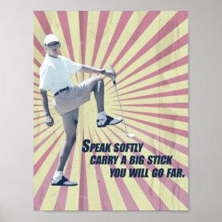 President Obama Retro Style Golf Poster
