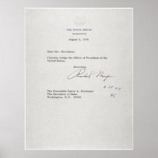 President Richard M. Nixon Resignation Letter Poster