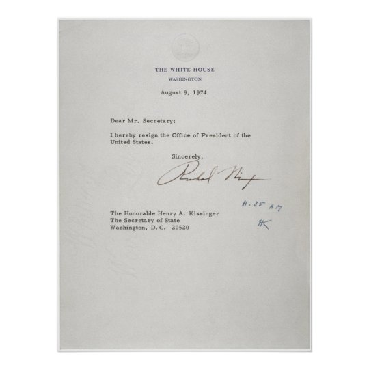 president richard m. nixon resignation letter poster   zazzle.ca