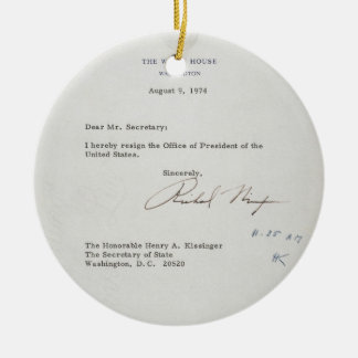 President Richard M. Nixon Resignation Letter Round Ceramic Ornament
