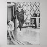President Richard Nixon Bowling At The White House Poster