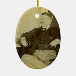 President Roosevelt at His Desk in White House Ceramic Oval Ornament
