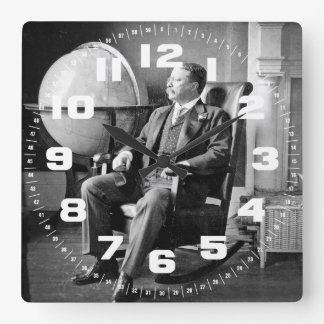 President Teddy Roosevelt Vintage White House Square Wall Clock