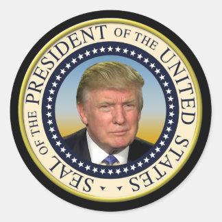 President Trump Photo Presidential Seal Round Sticker