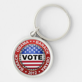 Presidential Election 2012 Barack Obama Silver-Colored Round Keychain