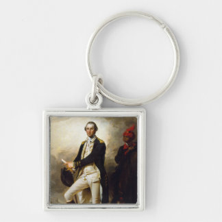 President's Day: George Washington Silver-Colored Square Keychain