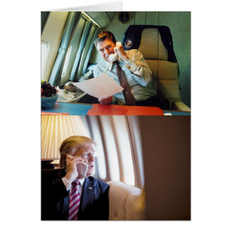 Presidents Reagan & Trump On Air Force One Card