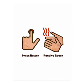 press button receive bacon postcard