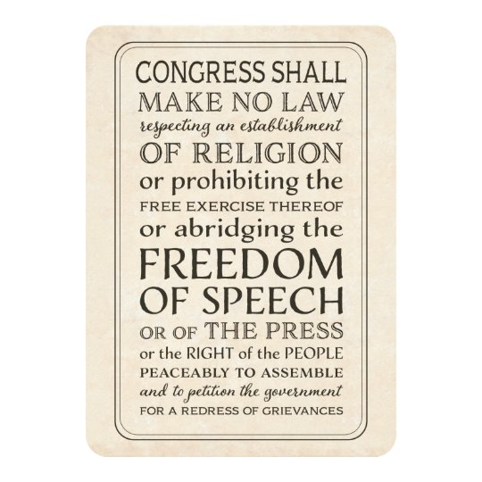 Press Freedom -  First Amendment Text Card