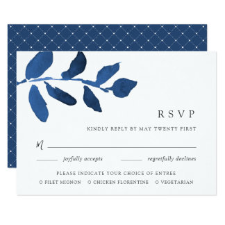 Pressed Botanical Meal Choice RSVP Card | Indigo
