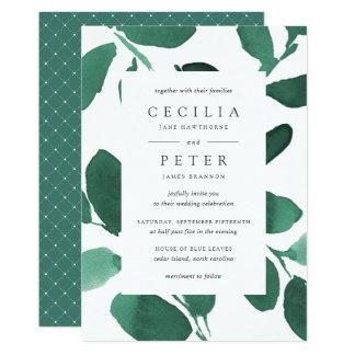 Pressed Botanical Wedding Invitation | Emerald