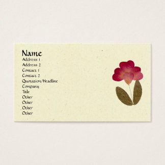 Pressed Bright Pink Tube Flowers Business Card
