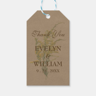 Pressed Goldenrod on Kraft Paper Pack Of Gift Tags