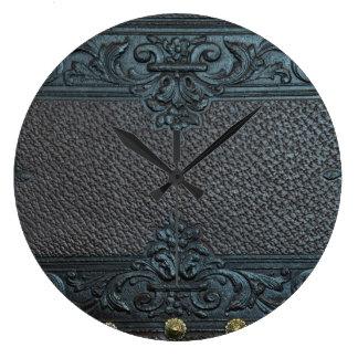 pressed leather sculpture furniture vintage floral clock