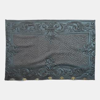pressed leather sculpture furniture vintage floral towels