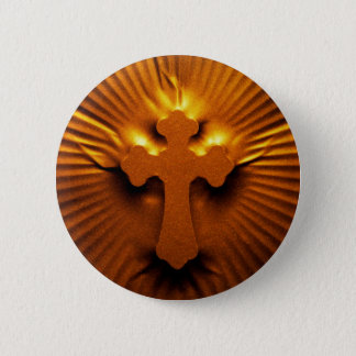 Pressed textured cross 2 inch round button