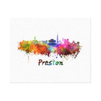 Preston skyline in watercolor canvas print
