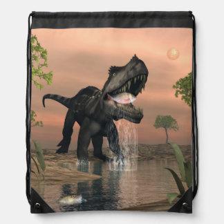 Prestosuchus dinosaur fishing - 3D render Drawstring Bag