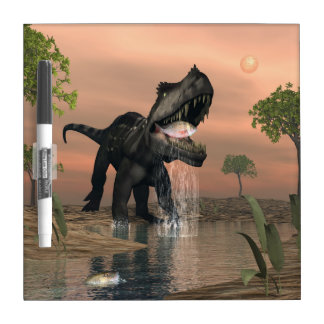 Prestosuchus dinosaur fishing - 3D render Dry Erase Board
